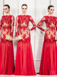 Short Red Illusion Neckline Dress Australia - New Sexy Sheer Appliqued Long Sleeve Zuhair Murad Evening Gowns Bateau Neckline Sheath Floor-Length Red Chiffon Prom Dresses