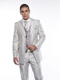 $enCountryForm.capitalKeyWord UK - Excellent Groom Tuxedos Silver Shiny Mens Wedding Tuxedos Peak Lapel Man Jacket Blazer Popular Prom Dinner Suit(Jacket+Pants+Vest+Tie) 165