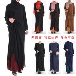 kimono muslim NZ - D001Explosion style high density chiffon double-sided wear classic basic models Muslim women's clothing dress
