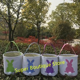 candy decoration buckets NZ - Hot selling 4 colors stock Bunny ear easter buckets bag cotton canvas material Easter day decoration kids candy easter tail bucket