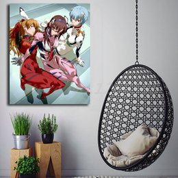 pink decorative paintings UK - Evangelion Rei Mari Asuka Wall Art Canvas Poster And Print Canvas Painting Decorative Picture For Office Living Room Home Decor