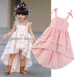 pink baby girls cake dress NZ - Retail Baby girl dresses sling pink swallowtail cake wedding princess Dress kids designer clothes girls pleated prom dresses clothing