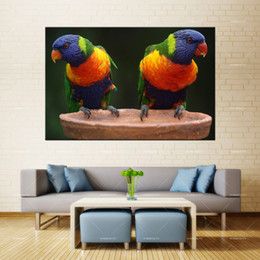$enCountryForm.capitalKeyWord Australia - Forbeauty Colorful Bird Oil Canvas Painting Wall Art Crab Do Crabs Feel Pain Spray Printing Waterproof Ink Home Decor