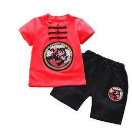 Boy Chinese Suit Australia - good quality Summer Children Boys Clothing Sets Chinese Style Tops + Shorts 2PCS Set Baby Clothes Suit Kids Boys Tracksuit