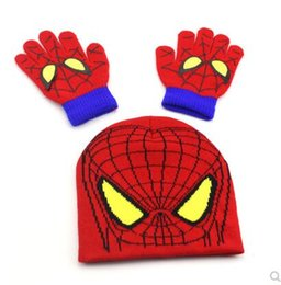 spider man glove NZ - Children's Spider-Man knitted wool hat autumn and winter boys cartoon warm pullover cap gloves cap tide baby hat