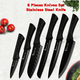 Kitchen blades online shopping - Sowoll Fashion Black Stainless Steel Kitchen Knife Set Germany Steel Ultra Sharp Blade Kitchen Chef Knive Cr17 Kitchen Tools