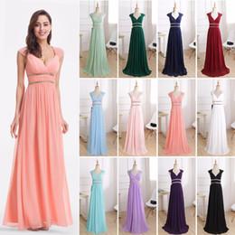 Formal Evening Dresses Long EP08697 Ever Pretty Women Elegant Navy Blue  White V neck Sleeveless Empire Evening Dresses 2018 New 4f7a8be59887