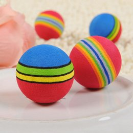 Plastic Dog Balls Australia - Funny Pet Toy Baby Dog Cat Toys 3.5CM Rainbow Colorful Play Balls For Pets Products 3pcs set