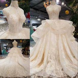 Plus Size Corset Shirts Australia - Elegant Princess Wedding Gowns High Neck Beading Crystal Corset Layers Debutante Lace Ball Bride Brial Dresses Plus Size Vestido De Noiva