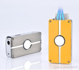 eco cigarettes cigars Canada - +A QUALITY 1300C metal Windproof Strong Flame Cigarette Cigar Lighters Triple Fire Jet flame torch butane Gas Lighter Luxurious gift For Men