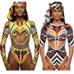 Discount long sleeve bathing suits - African Print Swimsuit Women Sexy Cut-Out One Piece Swimsuit Long Sleeve Bathing Suit Swimming Suit Vintage Beachwear CC