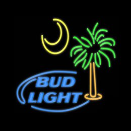 "bud light beer neon sign Australia - Bud Light Moon Palm Tree Neon Sign Handmade Real Glass Tube Store Beer Bar KTV Club Hotel Advertising Display Neon Signs 24""x20"""