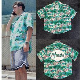 Bird collar shirt online shopping - Rhude X Patron Shirt Men Flamingos Mint Green New York Limited Edition Flamingo Skateboard Short Sleeve Green Bird RHUDE Shirt