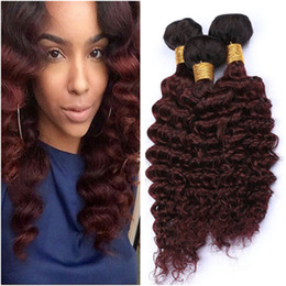 red wine ombre human hair weave NZ - #1B 99J Wine Red Ombre Deep Wave 3Bundles Malaysian Hair Black to Burgundy Ombre Deep Wave Curly Virgin Human Hair Weave Wefts 10-30""