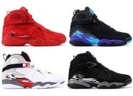 Venta al por mayor de Nike Air Jordan Retro Shoes 8 Día de San Valentín 8s Vday Aqua retro Negro Púrpura Cromo Paquete de cuenta regresiva Zapatillas de baloncesto Hombres Zapatillas deportivas con caja
