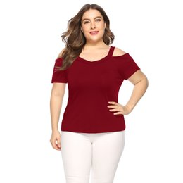 blouses necklines Australia - On Sal Women Newest Plus Size V-neckline Blouse Cold Shoulder Fold Short Sleeve Shirt Tops Sexy Hot