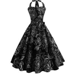 $enCountryForm.capitalKeyWord UK - Dress Summer 2019 Robe Vintage Pin Up Dress Women Floral Print Halter Big Swing 1950s 60s Rockabilly Party Dresses Vestido designer clothes