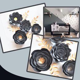 Noir Or Rose Bricolage Papier Fleurs Feuilles Set Pour Pépinière Mur Déco Garçons Chambre Salon Décoration Baby Shower Tutoriels Vidéo en Solde