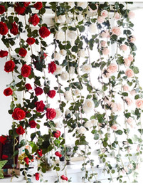 artificial white roses for sale NZ - 2019Hot sales 3 colors 180cm Fake Silk Roses Ivy Vine Artificial Flowers with Green Leaves For Home Wedding Decoration Hanging Garland Decor