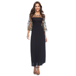 Embroidery Skirt Dresses UK - 2019 spring and summer large size women's lace embroidery round neck stitching long skirt trumpet sleeve dress