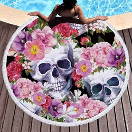 Round Skull NZ - 2019 3D skull head Fashion Series Round Beach Towel Microfiber Large Bath Towel for Swimming Thick Terry Cloth With Tassels Beach Blanket