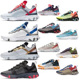 $enCountryForm.capitalKeyWord Australia - React Element 87 55 Breathable Women Mens Running Shoes Game Royal Red Blue Metallic Gold Black Solar Red Top Quality Trainers Sneakers