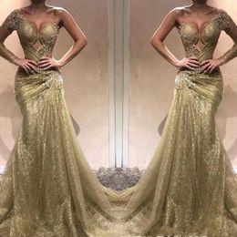 $enCountryForm.capitalKeyWord Australia - One Shoulder Mermaid Prom Party Dresses 2019 Sweep Train Long Vestidos De Soiree Bling Bling Sequins Evening Gowns Cheap
