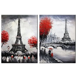 art canvas prints Australia - 2 Panels Black and White Canvas Painting Eiffel Tower Picture Prints Artworks Modern Wall Art for Home Bedroom Living Room Decor with Framed