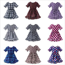 Wholesale Baby Kids Clothes Girls Plaid Polka Dot Dresses Princess Ruffle Dress Lattice Printed Dresses Beach Summer Dresses Casual Party Dress B5038