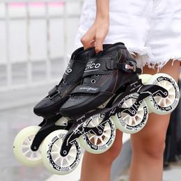 Vente en gros Speed Inline Skates Fibre de Carbone 4 * 90/100 / 110mm Compétition Skates 4 Roues Course de Rue Patinage Patinage Similaires Powerslide