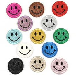 $enCountryForm.capitalKeyWord NZ - Smile Face Pink Blue Yellow Color Embroidered Patch Iron On Patch Sewing Applique Clothes Patch Stickers Apparel Accessories