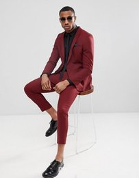 tuxedo suits for men slim UK - Handsome Burgundy One Button Mens Suits Slim Fit Back Vent Groomsmen Wedding Tuxedos For Men Blazers Peaked Lapel Prom Suit (Jacket+Pants)