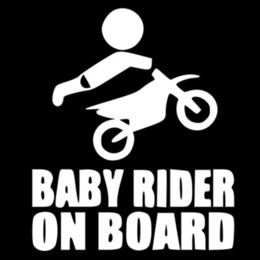 Discount stickers dirt - 12.8*15.2CM New Vinyl BABY RIDER ON BOARD Dirtbike Sticker Dirt Bike Motorcycle Car Body Stickers Car Styling Multi Colo