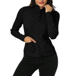 bf225184f Botão sólido Camisola De Malha Mulheres Camisola de Manga Longa Pullover  Blusas Feminino Casual Magro Camisola de Gola Alta Outerwear Plus Size S-XL
