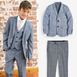 man navy blue yellow formal wear Canada - 2019 Boys Formal Suits Plaid Three Pieces Boys Dinner Suits Tuxedo for Kids Tuxedo Formal Occasion Suits For Little Men Custom Made