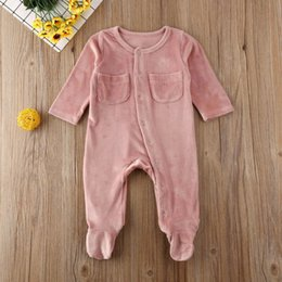 hot spring outfits Australia - 2020 Newest Hot Summer Clothest Newborn Infant Baby Girl Boy Clothes Velvet Footies Solid Long Sleeve Jumpsuit Outfits 0-18M