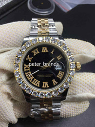 Wholesale bigger black for sale – custom Prong Set Diamond Watches two tone silver gold mm Bigger Diamond Dial bezel Automatic Fashion Men s Watch
