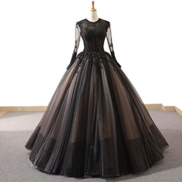 size 22w royal blue evening gown UK - Black Long Sleeves Vintage High-end A Line Prom Dresses 2019 Handmade Flowers Fashion New Evening Wear Gowns vestidos de fiesta de noche