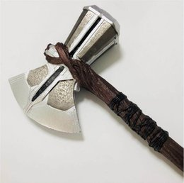 role play toys UK - 1: 1 Thor Hammer Ax Weapons Cosplay Role Playing Movie War Weapons Thor Thunder Figure Model PLUTON Toy 73 cm