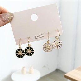 sterling silver french Australia - S925 silver needle elegant high feeling flash diamond star disc stud French ear hook female Korean temperament simple earrings