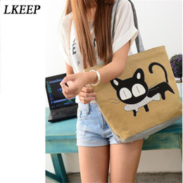 Red Canvas Prints Sale NZ - 2019 New Korean Fashion Cartoon Cat Printing Shoulder Bag Hot Sale Large Capacity Canvas Bags Ladies Shopping Bags
