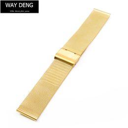 Metal Fines Australia - Women Men Golden Stainless Steel Watch Band 20mm 22mm Fine Mesh Metal Strap Replacement Bracelet Clasp Watchbands Accessories