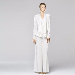 $enCountryForm.capitalKeyWord Australia - Modest White Long Sleeves Mother Of The Bride Pant Suits With Jacket Three Pieces Wedding Guest Dress Plus Size Mothers Groom Dresses