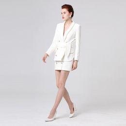 $enCountryForm.capitalKeyWord Australia - Womens 2019 Autumn Winter Fashion Blazer Suit Double Breasted Gold Color Button Jacket Mini Skirt Two Piece Outfits White
