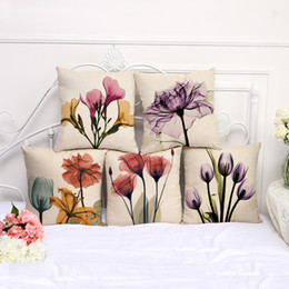 CouCh Cushions online shopping - 5pcs Couch cushion Cartoon Flower printed quality cotton linen home decorative pillows kids bedroom Decor pillowcase