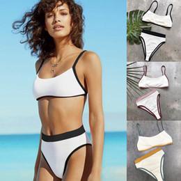 HigH waist swimwear online shopping - New Women Bikinis Set Patchwork High Waisted Bikini Crop Top Swimsuit Sexy Swimwear