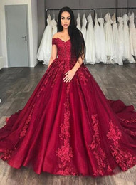 $enCountryForm.capitalKeyWord Australia - Red A-line Wedding Dresses For Nigerian Bride 2019 Modest African Middle East Church With Off Shoulder Appliqued Wedding Gown Chapel Train
