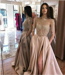 dresses miss zuhair Canada - Evening dress Yousef aljasmi Labourjoisie Zuhair murad A-Line Sleeveless High Collar PolyesterTassel Split Front Side Long Dress James_paul2