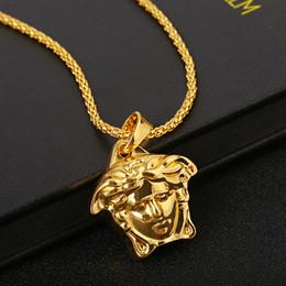 $enCountryForm.capitalKeyWord Australia - Tide Medusa Pendant Necklaces Hiphop Cube Necklace For Men Alloy Imitation Gold Necklaces For Party Bar Designer Accessories