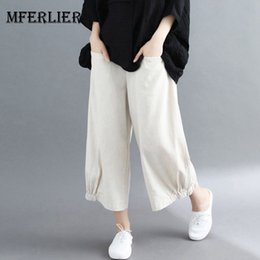 $enCountryForm.capitalKeyWord Australia - Mferlier Summer Wide Leg Pants Elastic Waist Pocket Elastic Pants Legs Loose Casual Ankle Length Cotton Linen Women Pants Y19071701